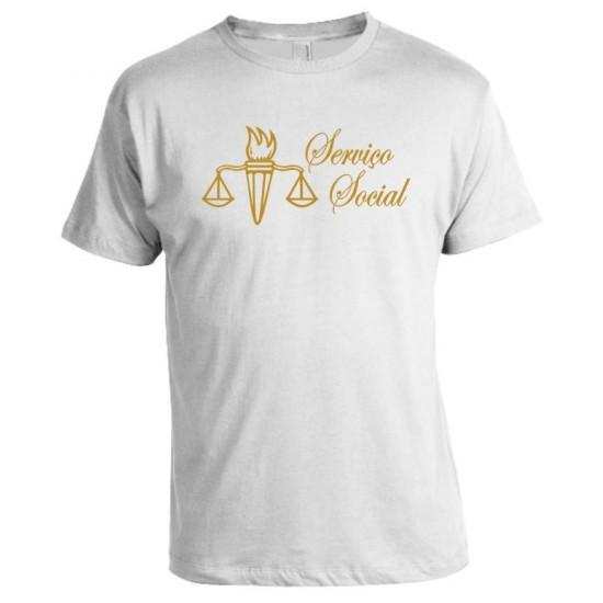 Camiseta Universitária Serviço Social e Estampa adicional manga